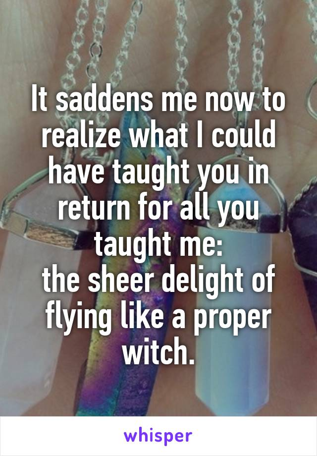 It saddens me now to realize what I could have taught you in return for all you taught me: the sheer delight of flying like a proper witch.
