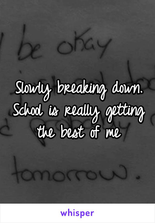 Slowly breaking down. School is really getting the best of me