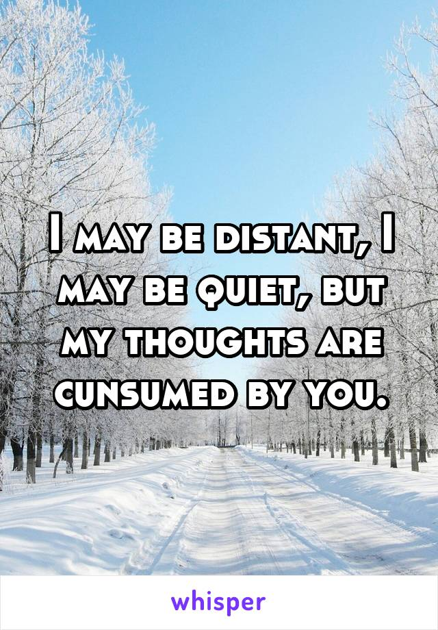 I may be distant, I may be quiet, but my thoughts are cunsumed by you.