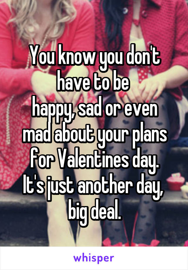 You know you don't have to be  happy, sad or even mad about your plans for Valentines day. It's just another day,  big deal.