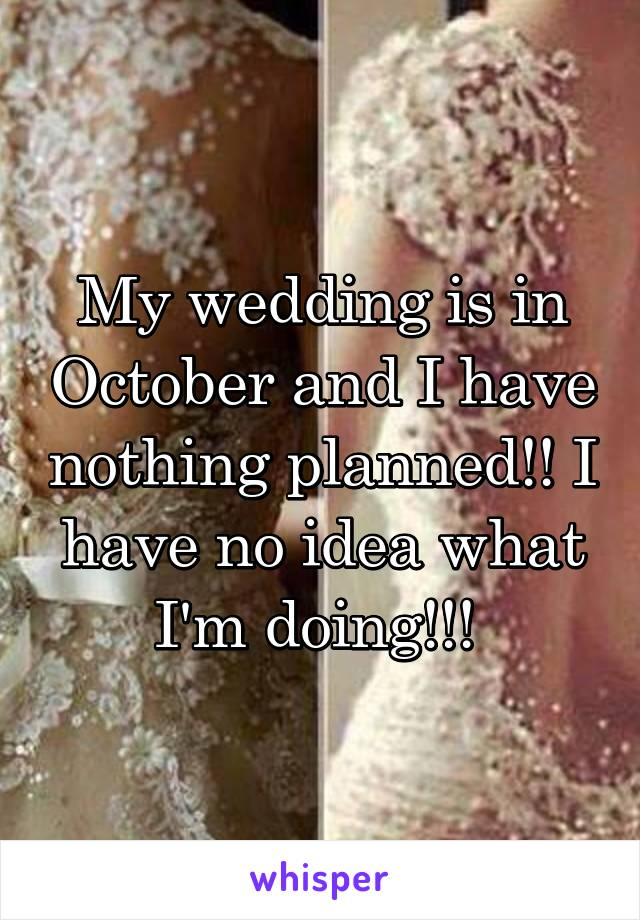 My wedding is in October and I have nothing planned!! I have no idea what I'm doing!!!