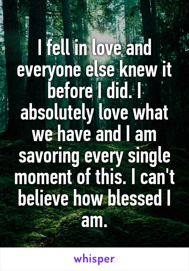 I fell in love and everyone else knew it before I did. I absolutely love what we have and I am savoring every single moment of this. I can't believe how blessed I am.