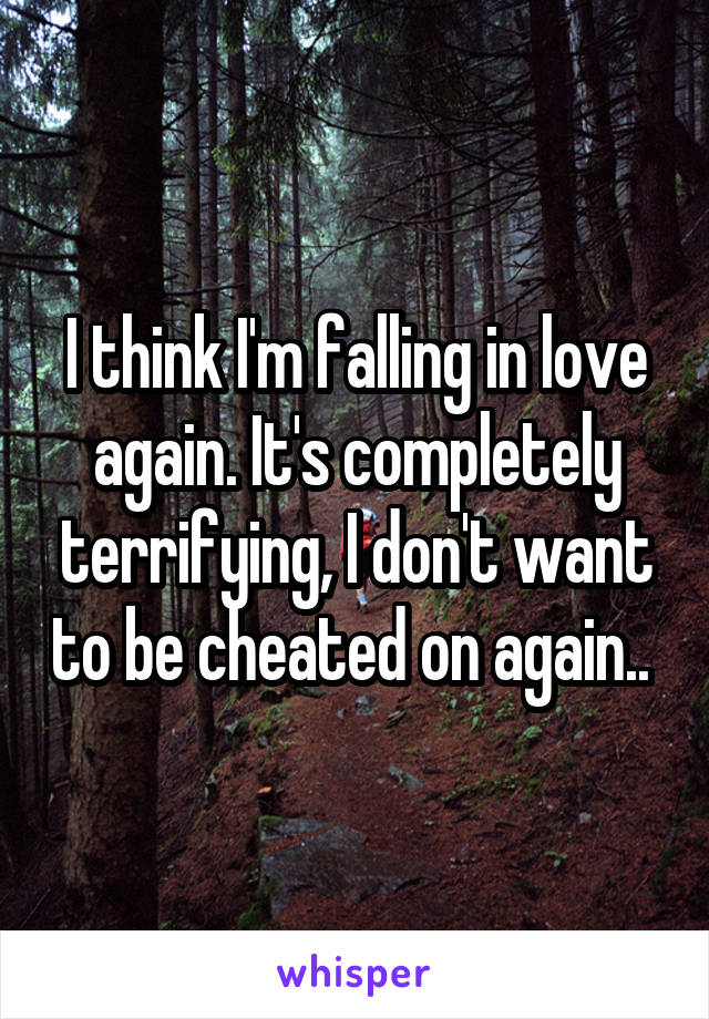 I think I'm falling in love again. It's completely terrifying, I don't want to be cheated on again..