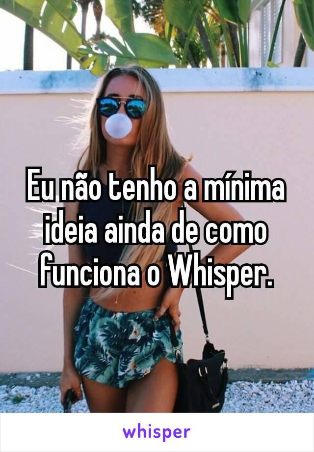 Eu não tenho a mínima ideia ainda de como funciona o Whisper.