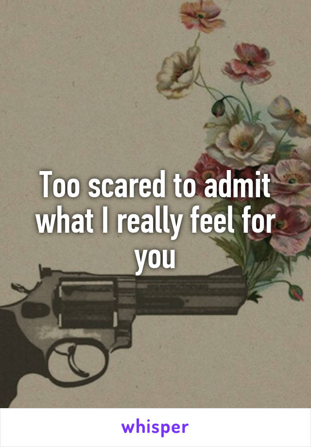 Too scared to admit what I really feel for you