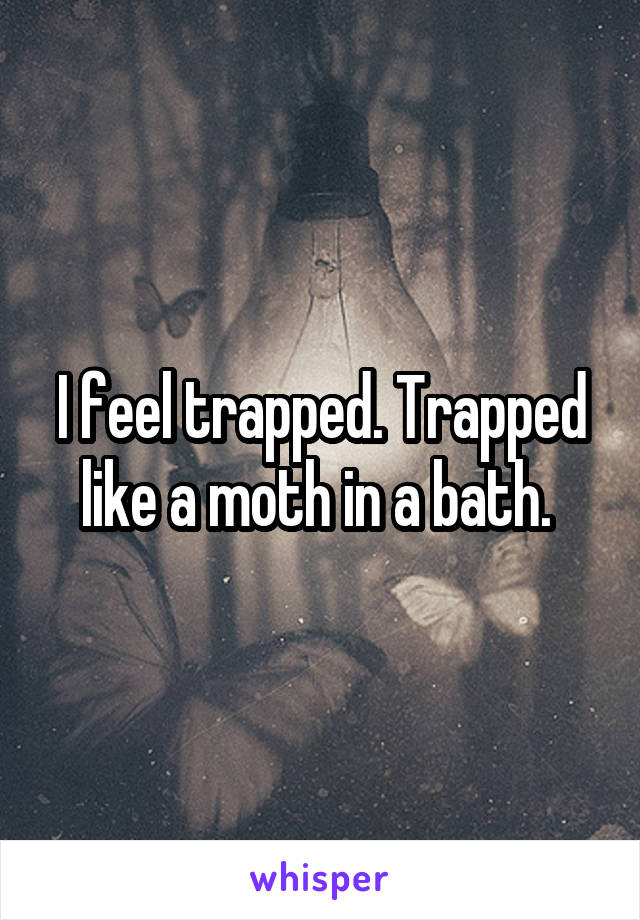 I feel trapped. Trapped like a moth in a bath.