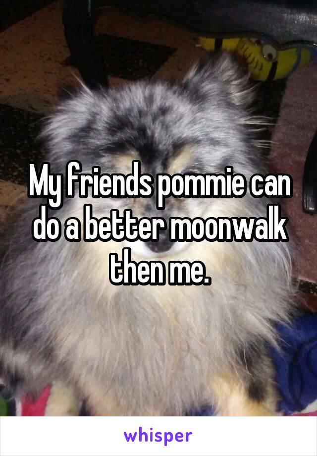 My friends pommie can do a better moonwalk then me.