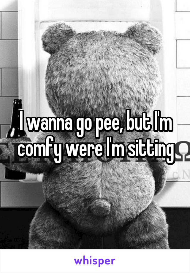 I wanna go pee, but I'm comfy were I'm sitting