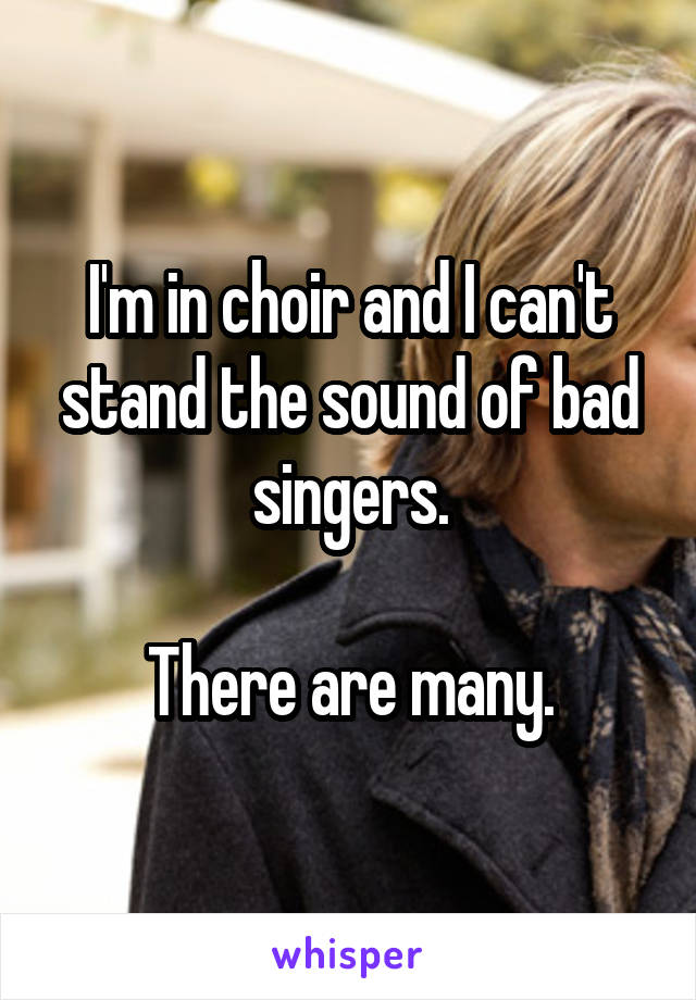 I'm in choir and I can't stand the sound of bad singers.  There are many.