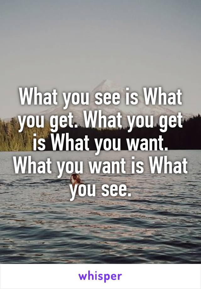 What you see is What you get. What you get is What you want. What you want is What you see.