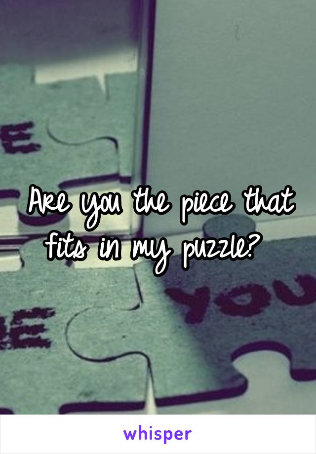 Are you the piece that fits in my puzzle?