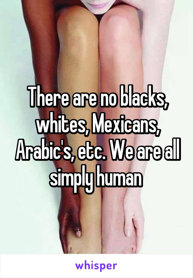 There are no blacks, whites, Mexicans, Arabic's, etc. We are all simply human