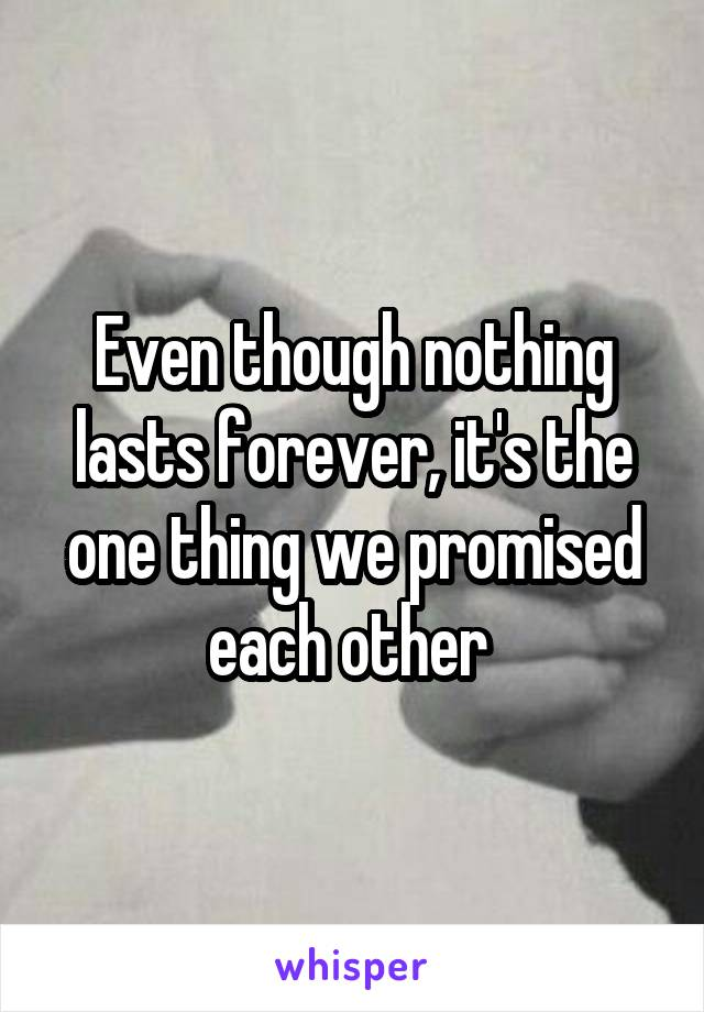 Even though nothing lasts forever, it's the one thing we promised each other