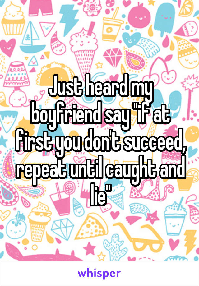"""Just heard my boyfriend say """"if at first you don't succeed, repeat until caught and lie"""""""