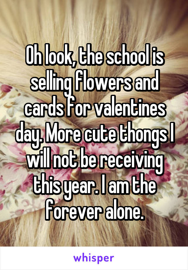 Oh look, the school is selling flowers and cards for valentines day. More cute thongs I will not be receiving this year. I am the forever alone.