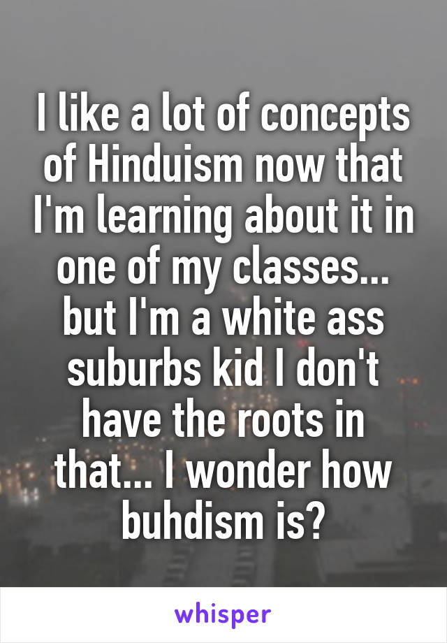 I like a lot of concepts of Hinduism now that I'm learning about it in one of my classes... but I'm a white ass suburbs kid I don't have the roots in that... I wonder how buhdism is?