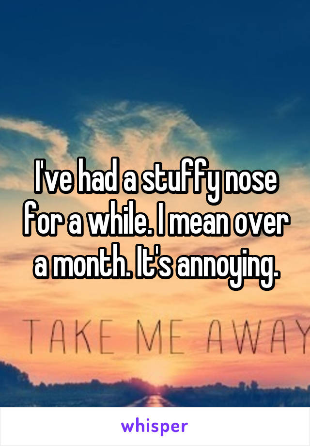 I've had a stuffy nose for a while. I mean over a month. It's annoying.