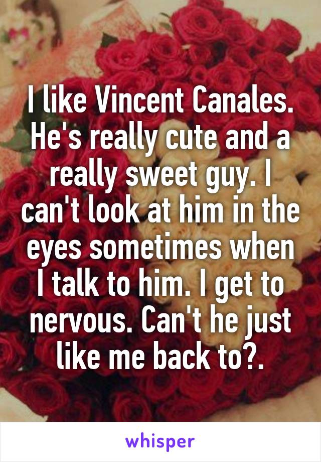 I like Vincent Canales. He's really cute and a really sweet guy. I can't look at him in the eyes sometimes when I talk to him. I get to nervous. Can't he just like me back to?.