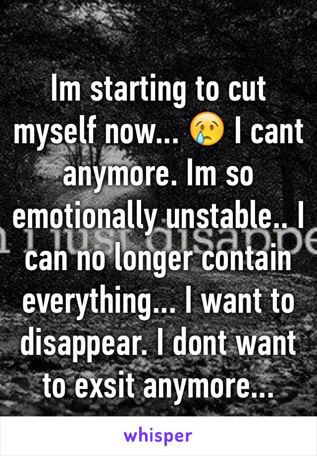Im starting to cut myself now... 😢 I cant anymore. Im so emotionally unstable.. I can no longer contain everything... I want to disappear. I dont want to exsit anymore...