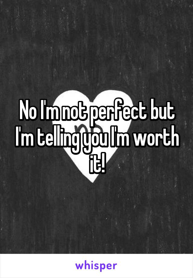No I'm not perfect but I'm telling you I'm worth it!