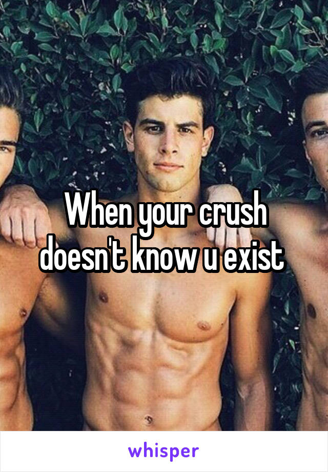 When your crush doesn't know u exist