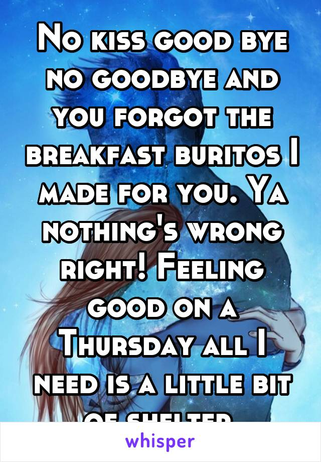 No kiss good bye no goodbye and you forgot the breakfast buritos I made for you. Ya nothing's wrong right! Feeling good on a Thursday all I need is a little bit of shelter.