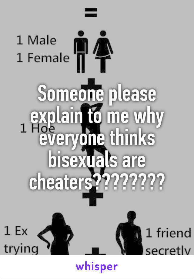 Someone please explain to me why everyone thinks bisexuals are cheaters????????
