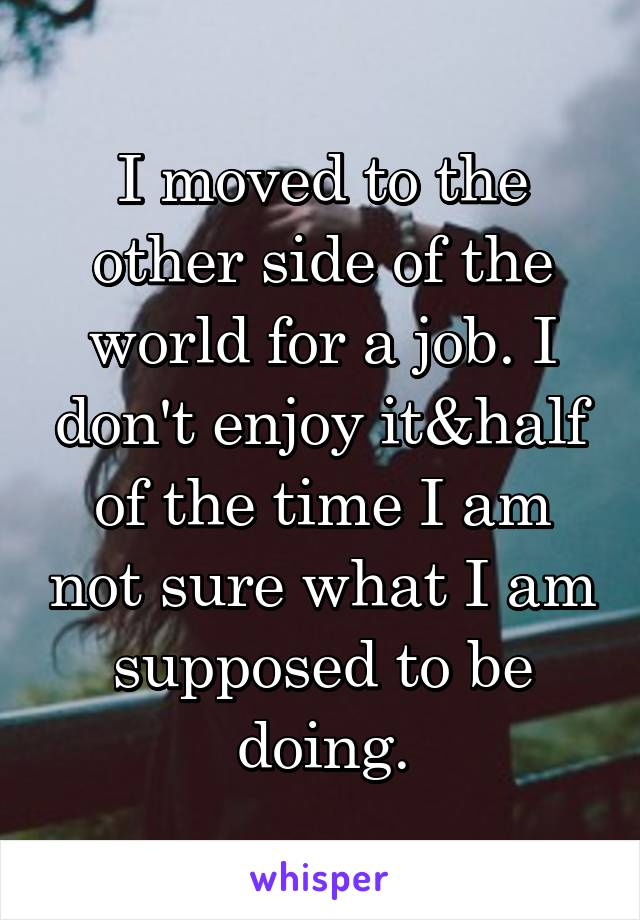 I moved to the other side of the world for a job. I don't enjoy it&half of the time I am not sure what I am supposed to be doing.