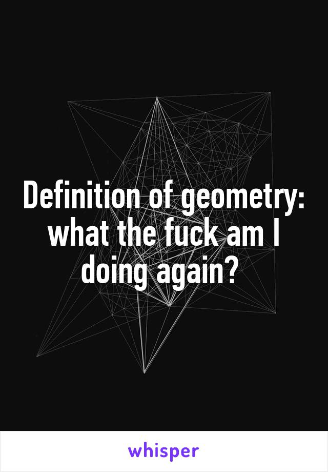 Definition of geometry: what the fuck am I doing again?