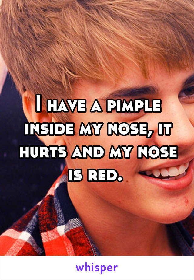 I have a pimple inside my nose, it hurts and my nose is red.