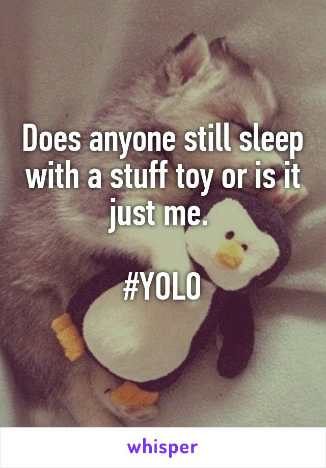Does anyone still sleep with a stuff toy or is it just me.   #YOLO