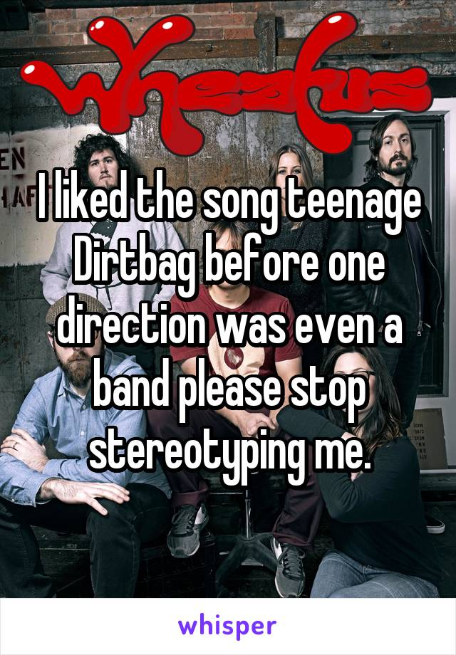 I liked the song teenage Dirtbag before one direction was even a band please stop stereotyping me.