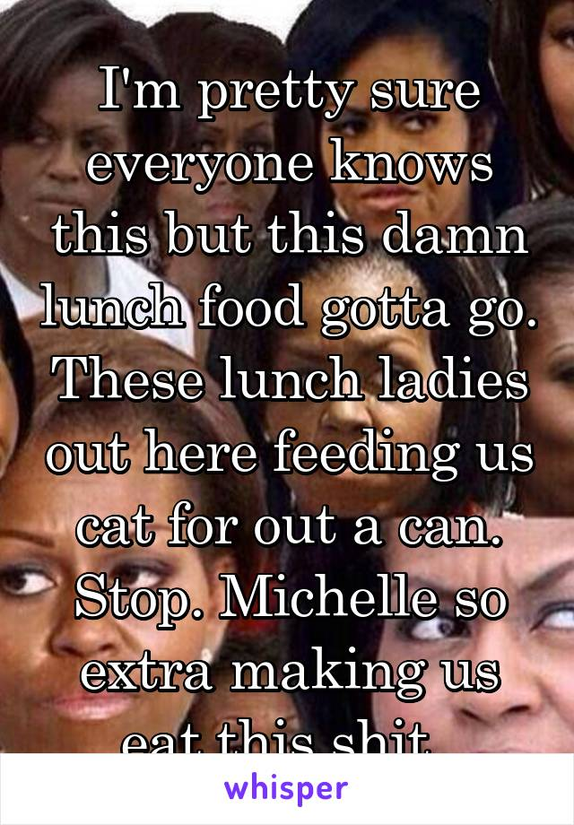 I'm pretty sure everyone knows this but this damn lunch food gotta go. These lunch ladies out here feeding us cat for out a can. Stop. Michelle so extra making us eat this shit.