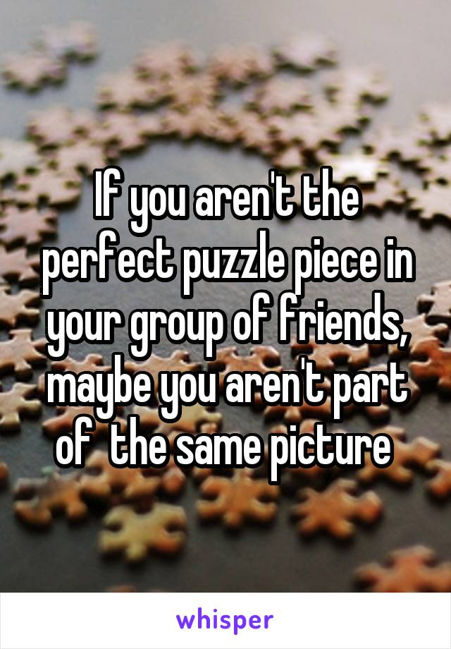 If you aren't the perfect puzzle piece in your group of friends, maybe you aren't part of  the same picture