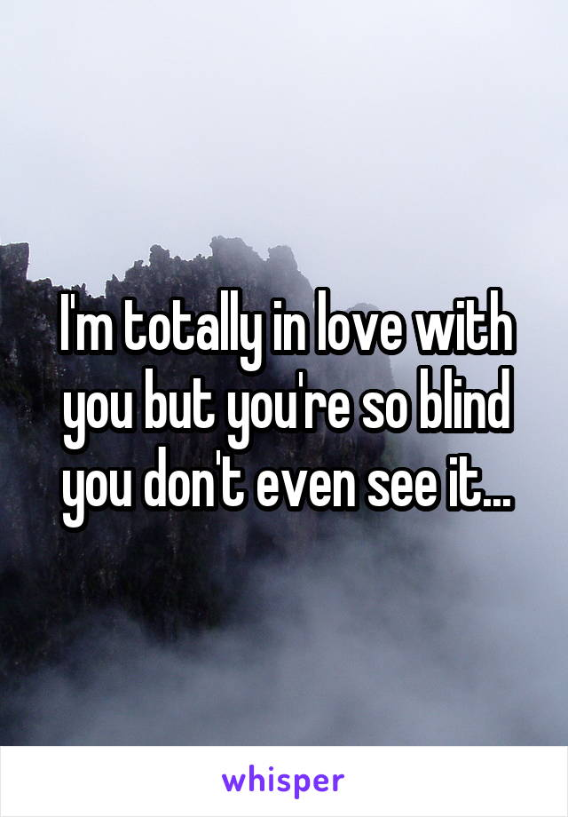 I'm totally in love with you but you're so blind you don't even see it...