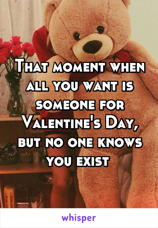 That moment when all you want is someone for Valentine's Day, but no one knows you exist
