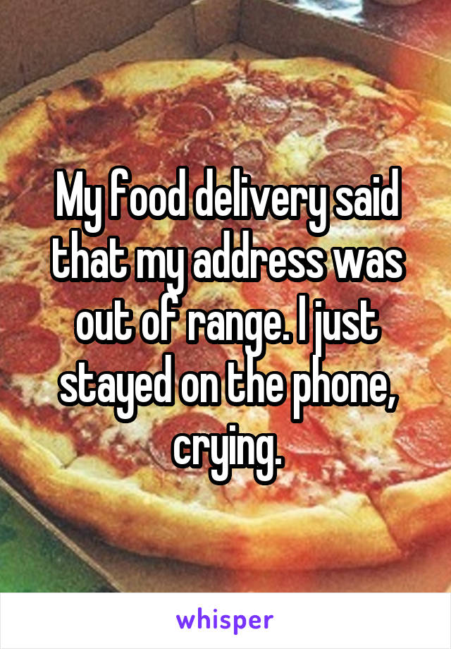 My food delivery said that my address was out of range. I just stayed on the phone, crying.