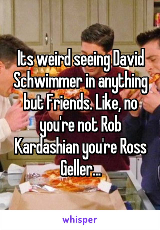 Its weird seeing David Schwimmer in anything but Friends. Like, no you're not Rob Kardashian you're Ross Geller...