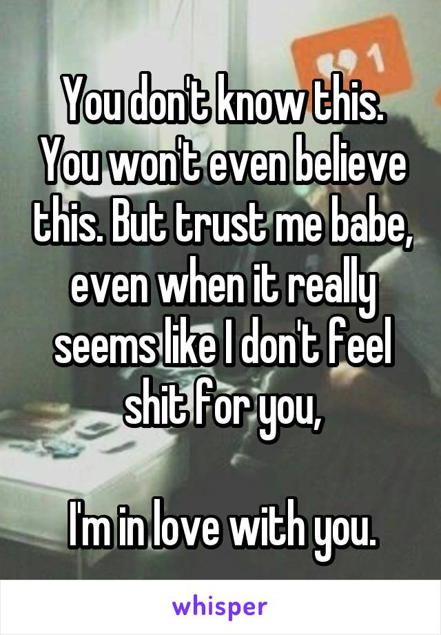 You don't know this. You won't even believe this. But trust me babe, even when it really seems like I don't feel shit for you,  I'm in love with you.