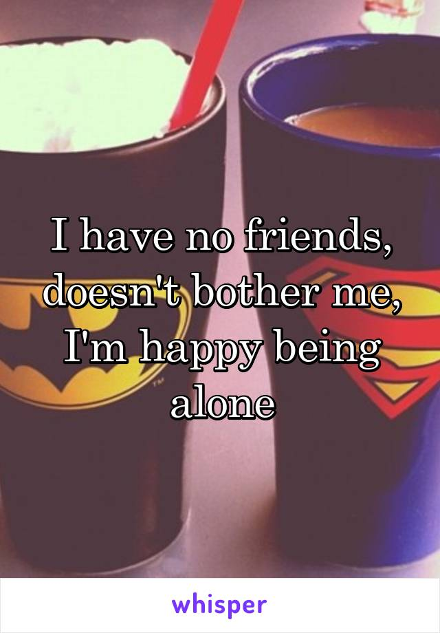 I have no friends, doesn't bother me, I'm happy being alone