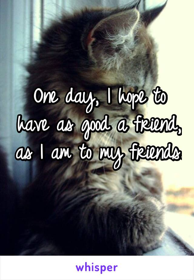 One day, I hope to have as good a friend, as I am to my friends.