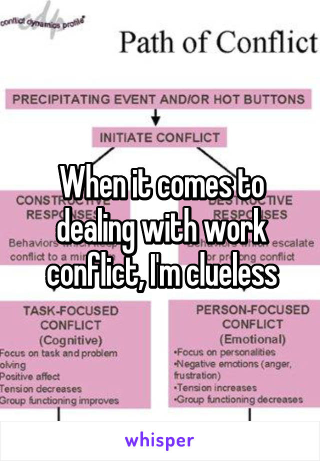 When it comes to dealing with work conflict, I'm clueless