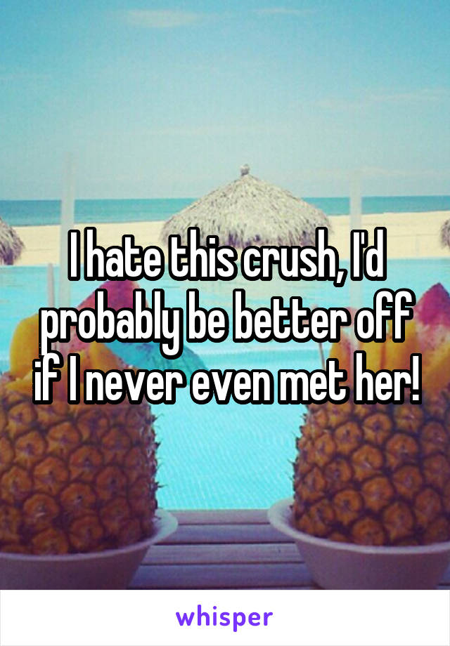 I hate this crush, I'd probably be better off if I never even met her!