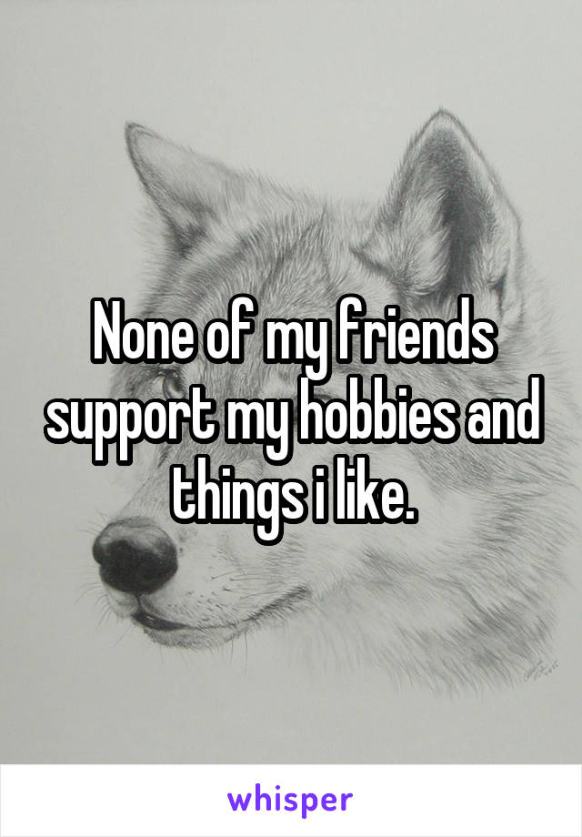 None of my friends support my hobbies and things i like.