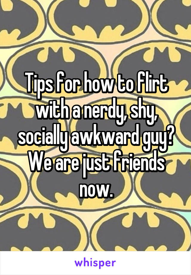 Tips for how to flirt with a nerdy, shy, socially awkward guy? We are just friends now.