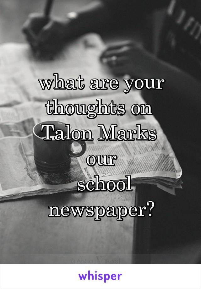 what are your thoughts on  Talon Marks  our  school newspaper?