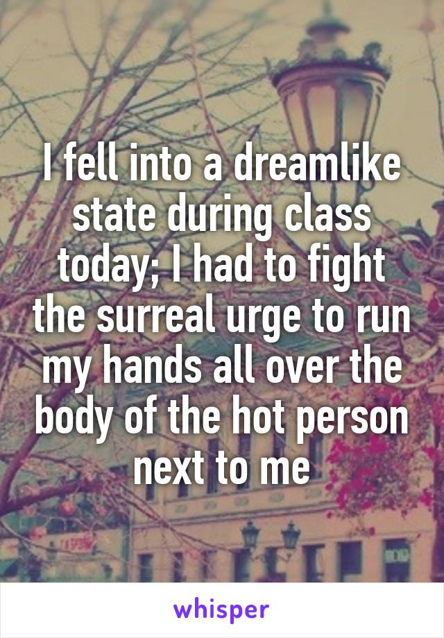 I fell into a dreamlike state during class today; I had to fight the surreal urge to run my hands all over the body of the hot person next to me