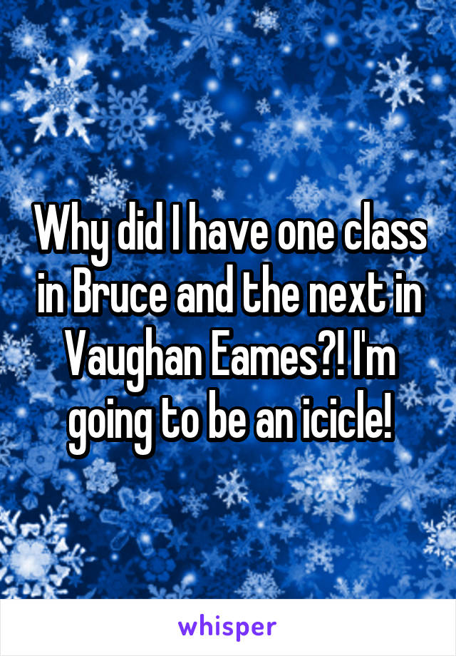Why did I have one class in Bruce and the next in Vaughan Eames?! I'm going to be an icicle!