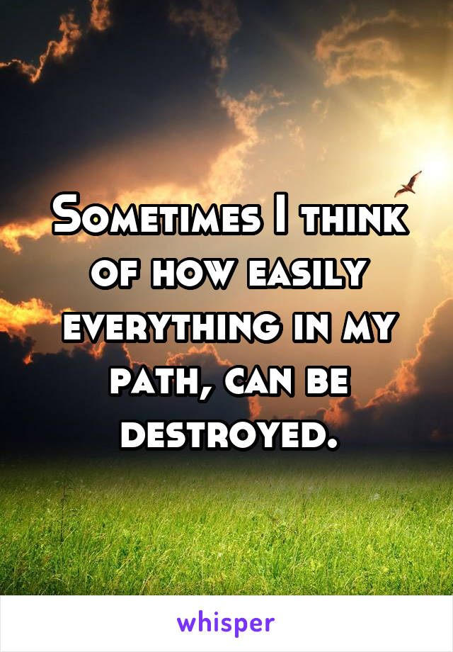 Sometimes I think of how easily everything in my path, can be destroyed.