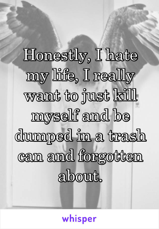 Honestly, I hate my life, I really want to just kill myself and be dumped in a trash can and forgotten about.